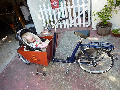 Baby seat in cargo bike